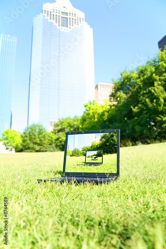 Computer Sit In Downtown Park