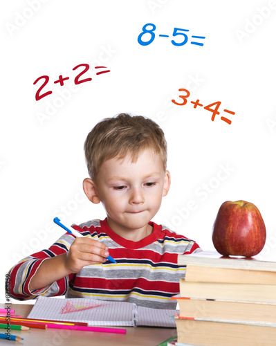 Little student learning math