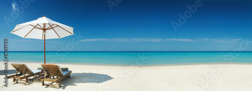 Staande foto Strand two chairs banner