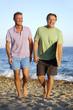 Happy gay couple on beach