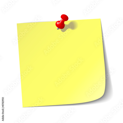 Yellow reminder note with red pin.