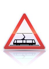 Panneau de danger traversée de voies de tramways (reflet métal)