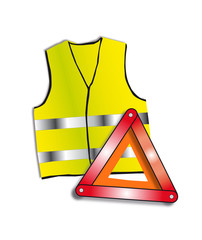gilet et triangle de signalisation