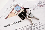 Keys on mortgage note and blueprints poster