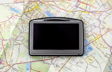 GPS - global positioning system on map