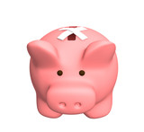 Piggy bank with the closed hole. Object over white poster