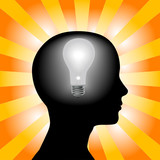 Idea Woman Mind Lightbulb in Silhouette Head on Rays Background poster