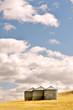 Leinwanddruck Bild Three silos in a wheat field