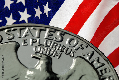 American Flag and Vintage 1967 United States Quarter