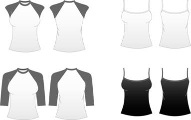 Women's T-shirts-Spaghetti Strap,Cap Sleeve & Baseball Tees