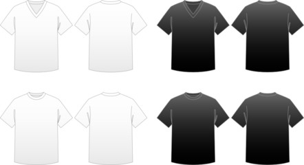 Men's T-shirt Templates-V-neck and Round-neck tees