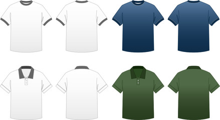 Men's T-shirt Templates-Ringer and Collared Polo Tees