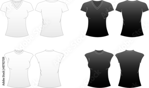 Women's Fitted T-shirt Templates-V-necked and Capped Sleeve Tees
