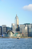 Hong Kong Convention and Exhibition Centre and skyscrapers poster