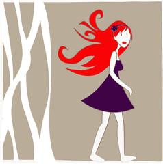 jeune fille prune qui marche