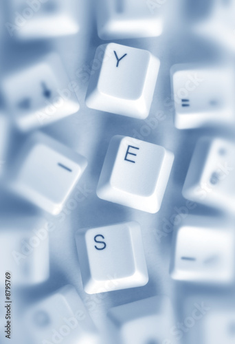 Computer keys with yes word
