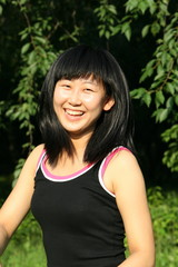 jumping Asian girl