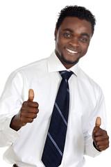businessman celebrating a triumph a over white background