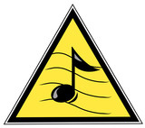 yellow triangular with with a musical note poster
