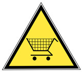 yellow triangular sign with a shopping cart poster