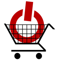 illustration of shopping cart with a power button or symbol
