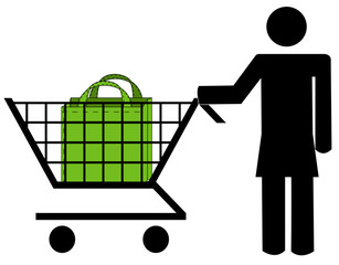 stick woman pushing shopping cart with bag