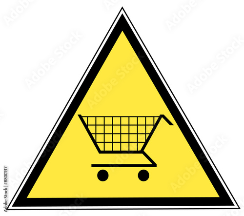 yellow triangular sign with a shopping cart
