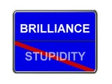 brilliance - stupidity - blue poster
