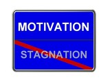 motivation - stagnation - blue poster