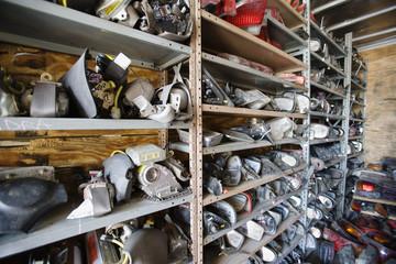 Old car parts in junkyard