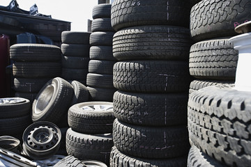 Tires in junkyard