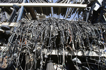 Old cables in junkyard