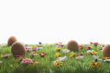 Easter eggs on artificial meadow
