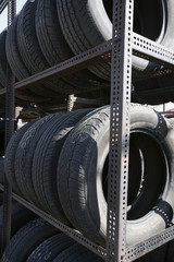Old tires in recycling centre