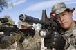 Soldiers aiming machine guns, close-up