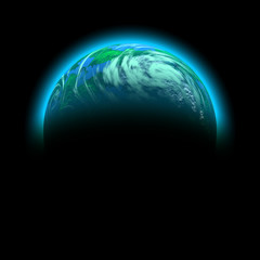 green planet illustration isolated on black