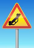 Panneau de danger temporaire accident poster