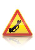 Panneau de danger temporaire accident (reflet métal) poster