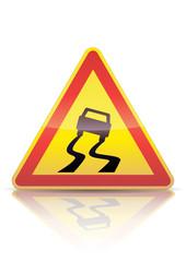 Panneau de danger temporaire chaussée glissante (reflet métal)