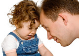 Baby girl with dad playing together, isolated