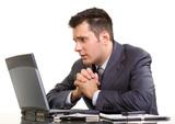 Praying stock broker poster