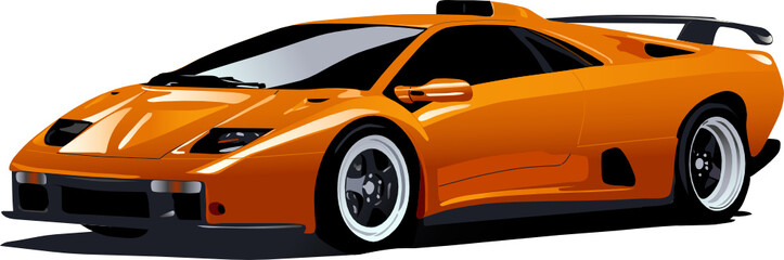 the illustration of yellow sport car