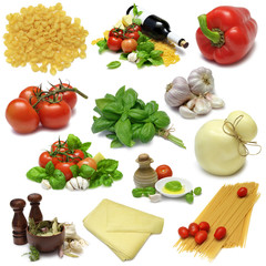 Italian cooking food sampler with clipping paths