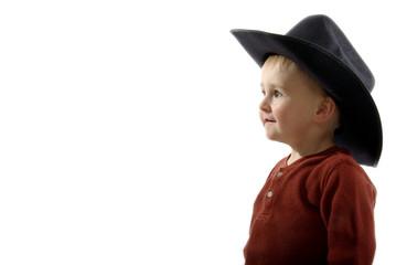 Animated toddler wearing black cowboy hat