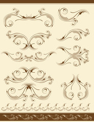 decorative frame and ornaments for design, vector