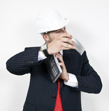 engineer holding phone on isolated background..