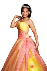 Quinceañera Hispanic Woman Wearing Formal Dress