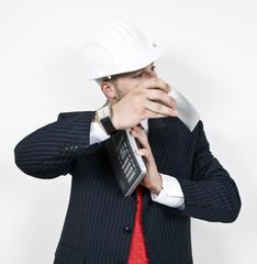 engineer holding phone on isolated background..