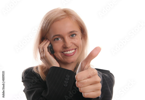 Happiness businesswoman with telephone