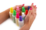 Bottles with chemicals and female hands poster